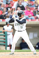 April 11 2010: Max Stassi of the Kane County Cougars at Elfstrom Stadium in Geneva, IL. The Cougars are the Low A affiliate of the Oakland A's. Photo by: Chris Proctor/Four Seam Images