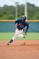GCL Rays Johan Lopez (44) running the bases during a Gulf Coast League game against the GCL Pirates on August 7, 2019 at Charlotte Sports Park in Port Charlotte, Florida.  GCL Rays defeated the GCL Pirates 5-3 in the second game of a doubleheader.  (Mike Janes/Four Seam Images)