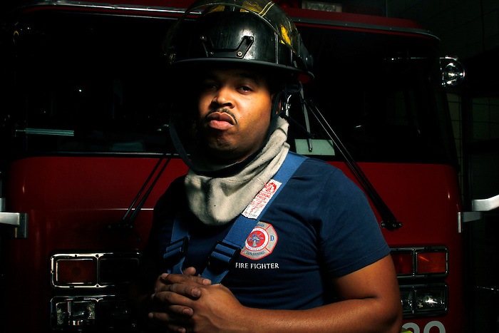 """FireFighter Cortez Mack has been on the Memphis Fire Department for 2 years now. """"I love it"""", he says."""