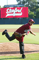 5 May 2008: Ceremonial first pitch during Stanford's 7-2 win against the Pacific Tigers at Sunken Diamond in Stanford, CA.