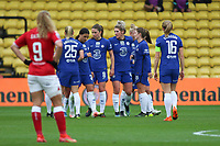 14th March 2021; Vicarage Road, Watford, Herts;  Ebony Salmon of Bristol City watches dejected as Chelsea celebrate another goal during the FA Womens Continental Tyres League Cup final game between Bristol City and Chelsea at Vicarage Road Stadium