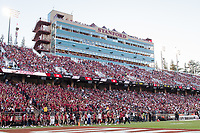 STANFORD, CA -- September 8, 2018. The Stanford Cardinal football team defeats the USC Trojans 17-3 at Stanford Stadium.