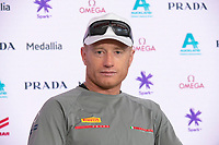13th March 2021; Waitemata Harbour, Auckland, New Zealand;  Luna Rossa Prada Pirelli Team helmsman Jimmy Spihill at the post race press conference on day three of the America's Cup presented by Prada.