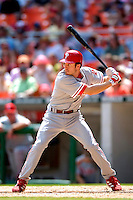 4 September 2005: Chase Utley, infielder for the Philadelphia Phillies, at bat during a game against the Washington Nationals. The Nationals defeated the Phillies 6-1 at RFK Stadium in Washington, DC. Mandatory Photo Credit: Ed Wolfstein.