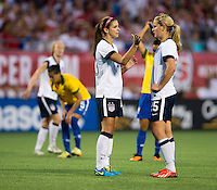 Alex Morgan, Lindsey Horan.  The USWNT defeated Brazil, 4-1, at an international friendly at the Florida Citrus Bowl in Orlando, FL.