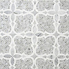 Aiden®, a handmade mosaic shown in polished and honed Carrara and polished Thassos, is part of The Studio Line of Ready to Ship mosaics.<br />