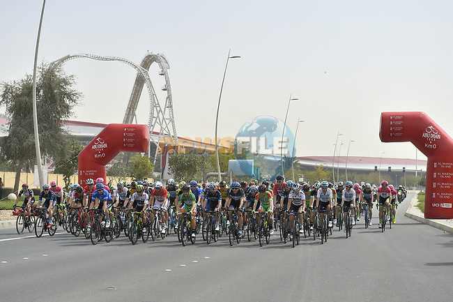 Km0 the start of Stage 2 of the 2018 Abu Dhabi Tour, Yas Island Stage running 154km from Yas Mall to Yas Beach, Abu Dhabi, United Arab Emirates. 22nd February 2018.<br /> Picture: LaPresse/Fabio Ferrari | Cyclefile<br /> <br /> <br /> All photos usage must carry mandatory copyright credit (© Cyclefile | LaPresse/Fabio Ferrari)