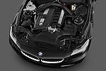 High angle engine detail of a 2009 BMW Z4 3.0i .