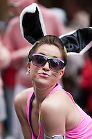 A member of fitness trainer Mario Godiva Green's Kangoo Krew, who came with bunny ears to the 2011 New York City Easter Parade.