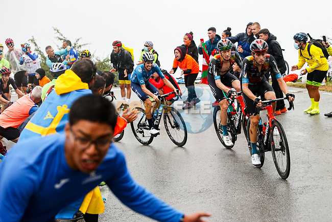 Gino Mäder (SUI) and Jack Haig (AUS) Bahrain Victorious and Enric Mas Nicolau (ESP) Movistar Team climb during Stage 17 of La Vuelta d'Espana 2021, running 185.8km from Unquera to Lagos de Covadonga, Spain. 1st September 2021.    <br /> Picture: Luis Angel Gomez/Photogomezsport | Cyclefile<br /> <br /> All photos usage must carry mandatory copyright credit (© Cyclefile | Luis Angel Gomez/Photogomezsport)