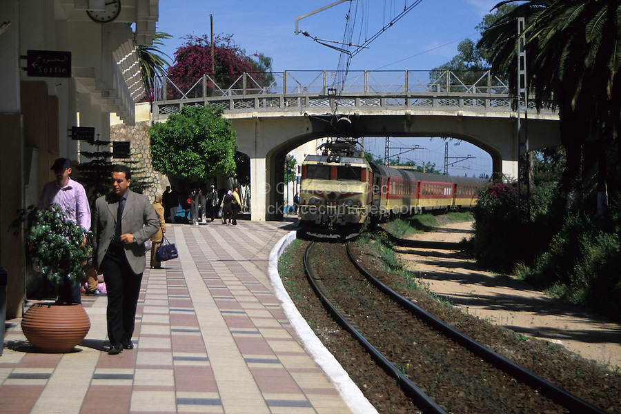 Meknes, Morocco - Train Arriving at Station, en Route to Fez.