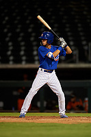 AZL Cubs 1 Ezequiel Pagan (1) at bat during an Arizona League game against the AZL Giants Orange on July 10, 2019 at Sloan Park in Mesa, Arizona. The AZL Giants Orange defeated the AZL Cubs 1 13-8. (Zachary Lucy/Four Seam Images)