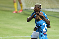 Lorenzo Insigne of SSC Napoli celebrates after scoring a goal Victor Osimhen of SSC Napoli<br /> during the friendly football match between SSC Napoli and L Aquila 1927 at stadio Patini in Castel di Sangro, Italy, August 28, 2020. <br /> Photo Cesare Purini / Insidefoto