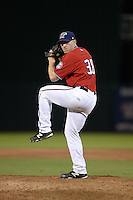 Fort Myers Miracle pitcher Brian Gilbert (38) delivers a pitch during a game against the Tampa Yankees on April 15, 2015 at Hammond Stadium in Fort Myers, Florida.  Tampa defeated Fort Myers 3-1 in eleven innings.  (Mike Janes/Four Seam Images)