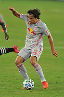 WASHINGTON, DC - SEPTEMBER 12: Florian Valot #22 of New York Red Bulls moves the ball during a game between New York Red Bulls and D.C. United at Audi Field on September 12, 2020 in Washington, DC.