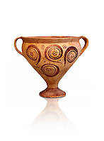 Minoan decorated two handled Ephyraean goblet  with geometric design , Konssos  Temple Tomb 1400-1250 BC; 1400-1250 BC; Heraklion Archaeological Museum, white background
