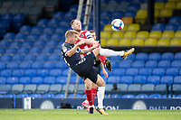 Jason Demetriou, Southend United clears under pressure from Jake Taylor of Exeter City during Southend United vs Exeter City, Sky Bet EFL League 2 Football at Roots Hall on 10th October 2020