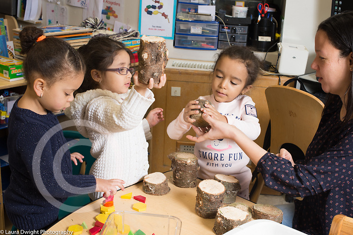 Education Preschool 4 year olds female teacher with several students talking about pieces of tree trunk