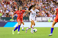 PHILADELPHIA, PA - AUGUST 29: Mallory Pugh #2 of the United States defends Fátima Pinto #13 of Portugal during a game between Portugal and USWNT at Lincoln Financial Field on August 29, 2019 in Philadelphia, PA.