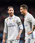 Sergio Ramos (l) and Cristiano Ronaldo of Real Madrid react during their La Liga match between Real Madrid and Real Sociedad at the Santiago Bernabeu Stadium on 29 January 2017 in Madrid, Spain. Photo by Diego Gonzalez Souto / Power Sport Images