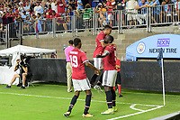 Houston, TX - Thursday July 20, 2017: Romelu Lukaku celebrates his goal with his teammates during a match between Manchester United and Manchester City in the 2017 International Champions Cup at NRG Stadium.