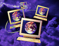 networked computers with the earth on a background clouds.