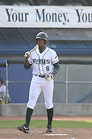 Tim Beckham of the Princeton Devil Rays in the batters box during a game against the Greeneville Astros in an Appalachian League game at Hunnicutt Field in Princeton, WV on July 20, 2008