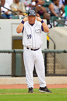 """Winston-Salem Dash manager Tommy Thompson #39 tells the runner on first to """"use his head"""" during the game against the Wilmington Blue Rocks at BB&T Ballpark on June 10, 2012 in Winston-Salem, North Carolina.  The Dash defeated the Blue Rocks 2-0.  (Brian Westerholt/Four Seam Images)"""