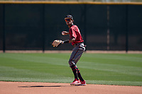Arizona Diamondbacks second baseman Yan Sanchez (14) warms up between innings of a Minor League Spring Training intrasquad game at Salt River Fields at Talking Stick on March 12, 2018 in Scottsdale, Arizona. (Zachary Lucy/Four Seam Images)