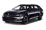 2020 Skoda Superb-Combi Sportline-4wd 5 Door Wagon Angular Front automotive stock photos of front three quarter view