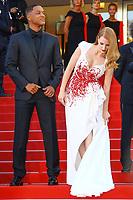 Jessica CHASTAIN et Will SMITH, derniere montée pour la Palme d'Or, soixante-dixième (70ème) Festival du Film à Cannes, Palais des Festivals et des Congres, Cannes, Sud de la France, dimanche 28 mai 2017.