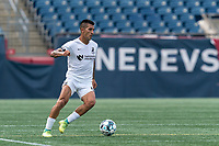 FOXBOROUGH, MA - JULY 25: USL League One (United Soccer League) match. Sebastian Contreras #10 of Union Omaha brings the ball forward during a game between Union Omaha and New England Revolution II at Gillette Stadium on July 25, 2020 in Foxborough, Massachusetts.