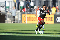 WASHINGTON, DC - MARCH 07: Ola Kamara #9 of D.C. United moves the ball during a game between Inter Miami CF and D.C. United at Audi Field on March 07, 2020 in Washington, DC.
