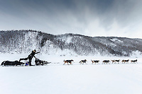 Dallas Seavey and his dogs working hard to get to the Ruby checkpoint of the Iditarod. On March 11, 2015.<br /> <br /> (C) Jeff Schultz/SchultzPhoto.com - ALL RIGHTS RESERVED<br />  DUPLICATION  PROHIBITED  WITHOUT  PERMISSION