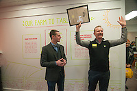 """Morgan Spurlock yells """"Holy Chicken"""" holding a proclamation from the State of Ohio presented to him by Wolf Starr of Connect Columbus congratulating him on the opening of his new restaurant.<br /> <br /> Morgan Spurlock opens """"Holy Chicken,"""" a faux fast food restaurant in Columbus, Ohio, where a documentary crew recorded his interaction with customers who thought they were dining at a new type of fast food restaurant. However, the entire location was designed to be part of his documentary highlighting the marketing of food that may not be as healthy as it is stated in advertisement, banners, and notices at the restaurant."""