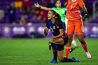 ORLANDO CITY, FL - FEBRUARY 24: Alex Morgan #13 of the USWNT celebrates her goal during a game between Argentina and USWNT at Exploria Stadium on February 24, 2021 in Orlando City, Florida.