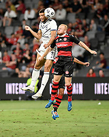 10th February 2021; Bankwest Stadium, Parramatta, New South Wales, Australia; A League Football, Western Sydney Wanderers versus Melbourne Victory; Rudy Gestede of Melbourne Victory beats Ziggy Gordon of Western Sydney Wanderers to the header
