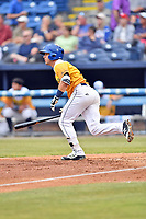 Beer City Tourists second baseman Max George (3) runs to first base during a game against the Lakewood BlueClaws at McCormick Field on June 1, 2017 in Asheville, North Carolina. The Tourists defeated the BlueClaws 8-5. (Tony Farlow/Four Seam Images)