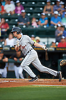 Lakeland Flying Tigers shortstop A.J. Simcox (1) at bat during a game against the Bradenton Marauders on April 16, 2016 at McKechnie Field in Bradenton, Florida.  Lakeland defeated Bradenton 7-4.  (Mike Janes/Four Seam Images)
