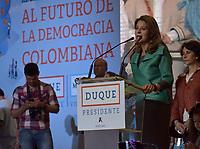BOGOTA - COLOMBIA, 17-06-2018:Discurso de agradecimiento de Marta Lucía Ramirez a sus seguidores. La segunda vuelta de las elecciones presidenciales de Colombia de 2018 se celebrarán el domingo 17 de junio de 2018. El candidato ganador gobernará por un periodo máximo de 4 años fijado entre el 7 de agosto de 2018 y el 7 de agosto de 2022. /Thanks speech of Martha Lucía Ramirez to her followers . Colombia's 2018 second round presidential election will be held on Sunday, June 17, 2018. The winning candidate will govern for a maximum period of 4 years fixed between August 7, 2018 and August 7, 2022. Photo: VizzorImage / Nicolas Aleman / Cont