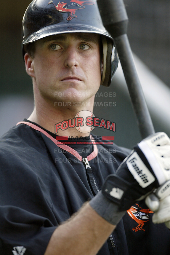 Brook Fordyce of the Baltimore Orioles before a 2002 MLB season game against the Los Angeles Angels at Angel Stadium, in Los Angeles, California. (Larry Goren/Four Seam Images)