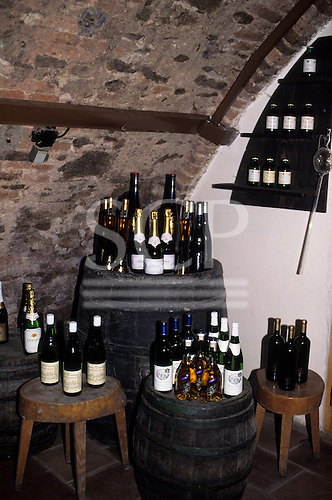 Bratislava, Slovakia: bottles of wine displayed on barrels in the cellar of a Slovak vineyard.