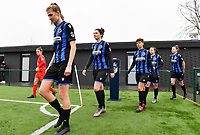 illustration picture showing both teams with Marie Minnaert (13) of Club Brugge , Frieke Temmerman (17) of Club Brugge and Isabelle Iliano (18) of Club Brugge entering the pitch during a female soccer game between Club Brugge Dames YLA and White Star Woluwe on the 12 th matchday of the 2020 - 2021 season of Belgian Scooore Womens Super League , saturday 30 January 2021  in Brugge , Belgium . PHOTO SPORTPIX.BE | SPP | DAVID CATRY