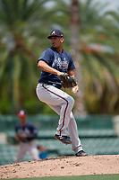 GCL Braves pitcher Carlos Caminero (45) during a Gulf Coast League game against the GCL Orioles on August 5, 2019 at Ed Smith Stadium in Sarasota, Florida.  GCL Orioles defeated the GCL Braves 4-3 in the second game of a doubleheader.  (Mike Janes/Four Seam Images)