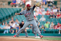 Lehigh Valley IronPigs starting pitcher Enyel De Los Santos (21) delivers a pitch during a game against the Rochester Red Wings on June 30, 2018 at Frontier Field in Rochester, New York.  Lehigh Valley defeated Rochester 6-2.  (Mike Janes/Four Seam Images)