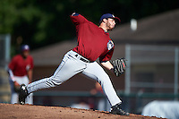 Mahoning Valley Scrappers starting pitcher Aaron Civale (45) during a game against the Auburn Doubledays on July 17, 2016 at Falcon Park in Auburn, New York.  Mahoning Valley defeated Auburn 3-2.  (Mike Janes/Four Seam Images)