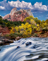 Court of the Patriarchs and Virgin River waterfall and fsll color. Zion National Park, Utah