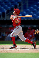 Washington Nationals Cole Freeman (6) follows through on a swing during a Florida Instructional League game against the Miami Marlins on September 26, 2018 at the Marlins Park in Miami, Florida.  (Mike Janes/Four Seam Images)
