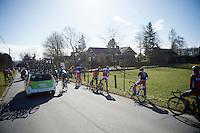 pee break in the peloton<br /> <br /> Omloop Het Nieuwsblad 2015