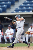 Jarrett Jarvis #16 of the BYU Cougars bats against the Pepperdine Waves at Eddy D. Field Stadium on April 10, 2014 in Malibu, California. BYU defeated Pepperdine, 1-0. (Larry Goren/Four Seam Images)